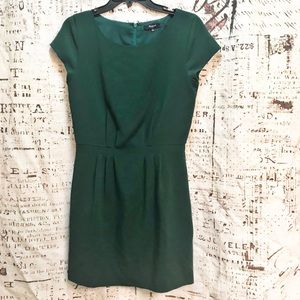 Madewell Cap Sleeved Cinched Waist Dress Green 2